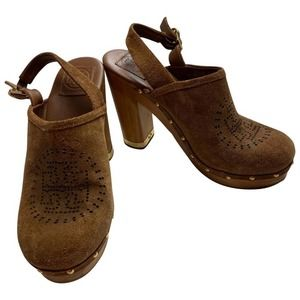 Tory Burch brown suede leather wooden clogs 9 M